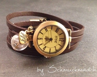 Watch bracelet bronze Brown flower