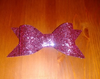 Sparkly glitter hair bow in Light Pink