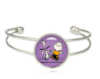 Snoopy Charlie Brown Dance  Cuff Bangle Bracelet Fandom Jewelry Cosplay Fangirl Fanboy