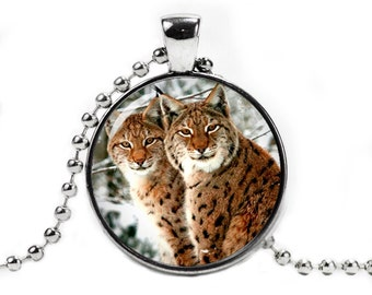 Bobcats Pendant Necklace with a ball chain Lynx Jewelry Bobcat Necklace