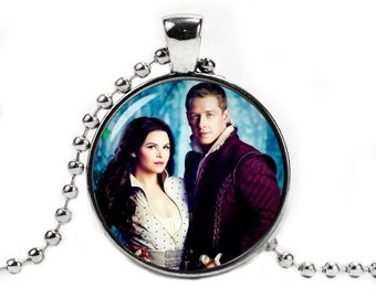 Once Upon a Time Necklace Snow White and Prince Charming Necklace Fangirl Fanboy