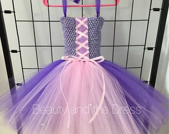 Rapunzel inspired tutu dress, tangled inspired tutu dress, pink and purple tutu dress, tulle dress, tulle tutu dress