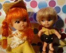 Liddle Kiddles  Boy and Girl pair 1966 Hasbro rare  1960's Vintage little dolls