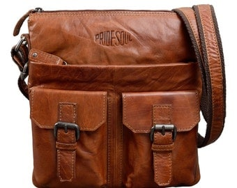 Ladies bag postbag M Lilly Little shoulder bag Messenger Bag Handbag vintage style retro brown leather