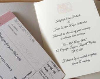 Passport Wedding Invitation (diamanté/pearl/pink)