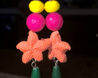 resin Starfish earrings and gemstone jewelry