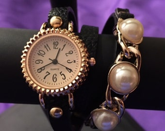 Black Wrap Around Watch with Pearls