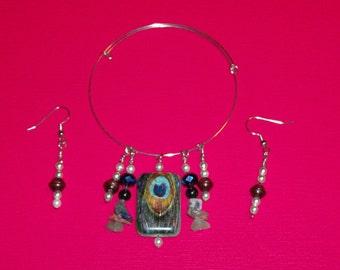 Bracelet and earring set, bracelet earring combination, bangle bracelet and earring combination, beaded bracelet and earrings