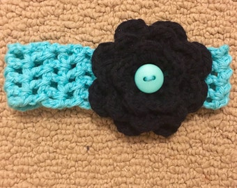 Baby Crochet Headband with Flower - Teal and Black