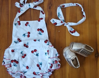Baby Girl Outfit - Cherry Ruffle Bum Romper With Gold Tassel/Frill Sandals - 3 Piece Set - Size 1