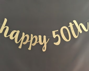 50th Birthday Banner, Happy Birthday Banner, Glitter Banners, Birthday Banners, Party Banners