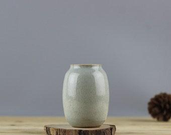 Neutral glazed ceramic bud vase- Speckled Mint, flower vase, Modern Home Decor