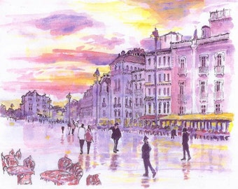 2000 French Street watercolor painting print from original, made by seller, signed