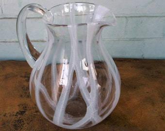 Decorative Clear and White Glass Pitcher