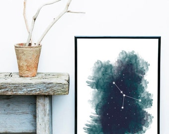 Zodiac Print, Astrology, Cancer, Print, Art, Printable Digital Download, Instant Artwork