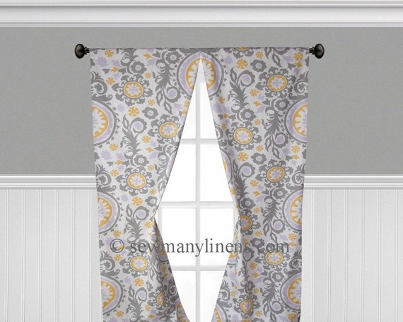 Lavender Purple Yellow Gray Curtain Panels Floral Curtains