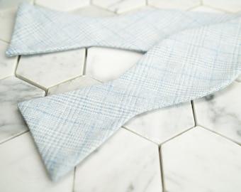 Self tie Bowtie. Light Blue Bow Tie. Glen Plaid Untied Bowties. Wedding Bowties. Sky Blue Bow Ties. Mens Wedding Bow Ties. Plaid Bow Ties.