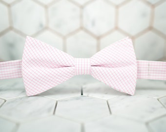 Mens Pink Bow Tie. Bright Pink Checkered Bowtie. Graph bowties. Pre Tied Bowties. Pink Bowties. Checkered Pink Bow Ties. Pink Wedding Bowtie