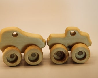 Wood Car and Truck Set Handmade one of a kind design Beeswax finished Made in Canada