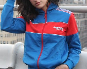 Vintage Adidas Original red and blue Zip Up Jacket
