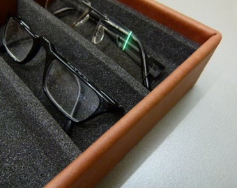 Storage of glasses / eyeglasses box / leather box for 5 glasses, genuine leather in 24 different colours
