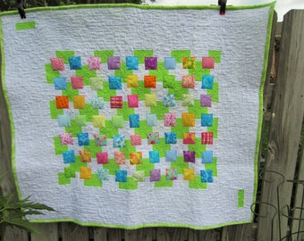 Modern Colorful Block Quilt / Baby Quilt / Lap Quilt / Contemporary Quilt /Gender Neutral / Baby Gift Ideas / Quilts / Toddler Quilt