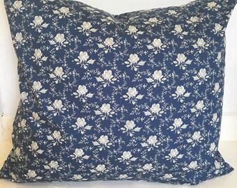 Navy blue, floral cushion