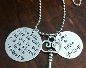 """Hand Stamped Necklace """"The only fire"""""""