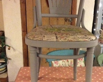 Pair 2 DINING CHAIRS with London Fabric
