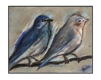 Bluebirds on wire