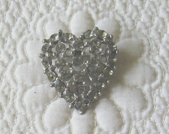 Vintage RHINESTONE HEART Shaped Pin