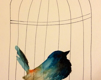 Watercolor and pen- Caged Bird