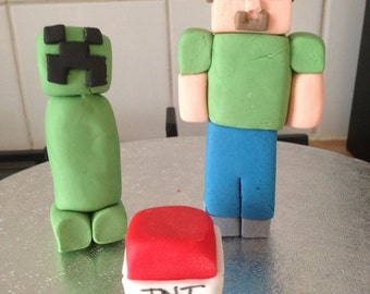 Minecraft cake toppers.