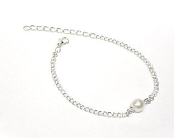 8mm Single White Pearl Bracelet, Chain Bracelet, Women's Bracelet, Gift