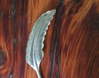 Vintage HSB Sterling Silver Leaf Feather Brooch