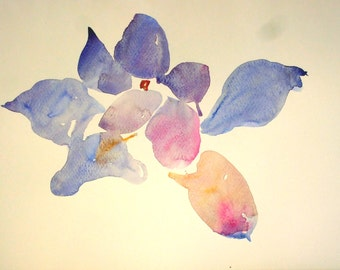 white flower 5. watercolor painting for decoration, alone or in the company of her sisters in series. 27x35cmts without frame