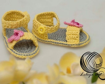 "Booties ""Butterfly"", Baby Booties, Baby Loafers, Baby Loafer Booties, Crochet baby booties, Crochet baby loafers"