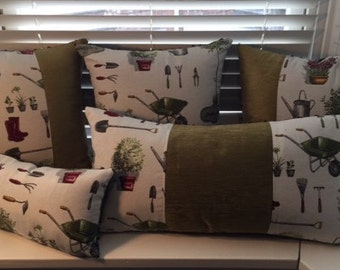 Set of 5 Garden themed cushions - various sizes