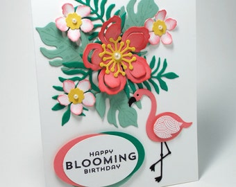 Handmade Flamingo Tropical Flowers Wow Happy birthday card, fun birthday, Florida, pink and green, flowers and ferns, blooming, hello card