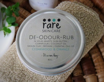 "Natural Deodorant Aluminium Chemical Free ""DE-ODOUR-RUB"" Sweet Orange and Bay Rum Essential Oil/ Sensitive Skin/Paste/Rub/Underarms/Switch"