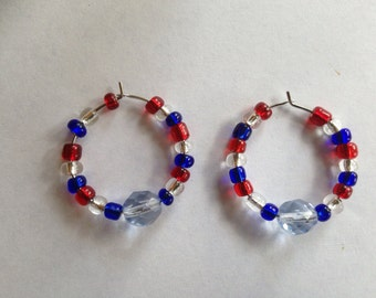 Red, white and blue wine charms