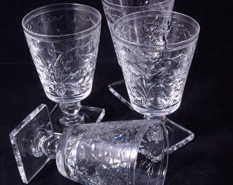 B166 5 Beautiful Hand Cut Glass Tumblers on Square Bases