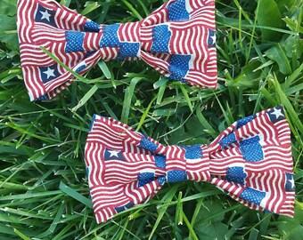 American Flag Hair Clips