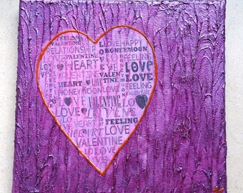 Acrylic painting canvas 20 x 20 x 1.7 purple heart love structures painting