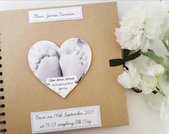 "Baby Scrapbook Photo Album With Added Photo Heart 8x8"""