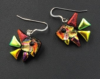 Fused dichroic glass, Fish Earrings with Sterling Silver Chain