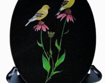 American Goldfinch - Oval - Laser Engraved Black Granite Tile by Jerry Simchuk Art Studio