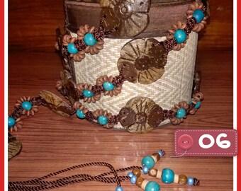 Handmade coconut shells belt, Flowers belt,beads belt, styled belt.