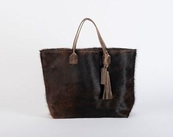 Hair on Hide Tote/Brown Leather Tote/Cowhide Tote Bag/Cowhide Purse/Leather Tote/Mexican Bag/