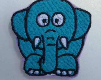 Elephant badge cover- embroidered felt badge cover